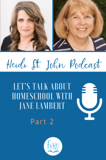 "Heidi does a ""Homeschool Q&A"" with veteran homeschool mom and author of Five in a Row, Jane Lambert. Listen and then go to fiveinarow.com for some free downloads."