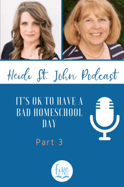 "Have you ever wanted to put your kids in school? Me too! Jane too!  It's okay to have a bad day! Join me today for this last interview with my friend, author, wife and veteran homeschool mom, Jane Lambert. Be encouraged, busy mom! God hears you and wants to walk this journey by your side.  Listen in as we share stories of God's faithfulness—even when ""our"" plans fall through. Listen and then visit fiveinarow.com"
