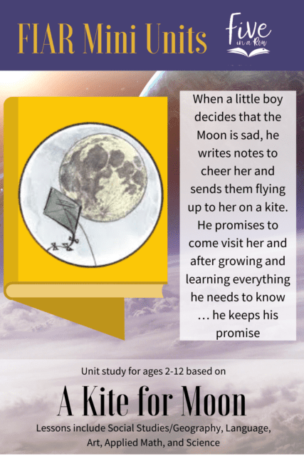 Five in a Row Mini Unit Study for Ages 8-12. This includes most of your subjects using the children's picture book A Kite for Moon.