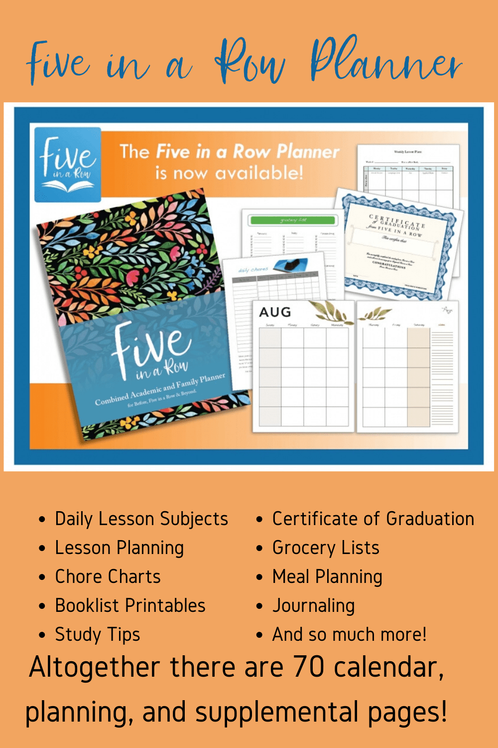 The Five in a Row Combined Family and Academic Planner was created to give you access to school planning pages specific to Five in a Row curriculum.