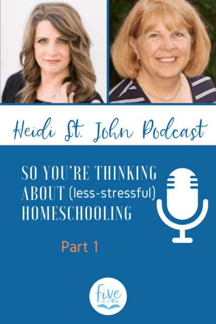 In today's podcast, I have the wonderful privilege of interviewing Jane Lambert, veteran homeschool mom and author of the best-selling curriculum, Five in a Row! Whether you're a veteran homeschool mom, a newbie or a curious listener, you will love Jane's story. Get ready to be encouraged and inspired—because homeschooling doesn't have to be stressful and hard—learn how Jane made learning fun for her kids and inspired a generation of moms to do the same. Listen and then visit fiveinarow.com for free downloads!
