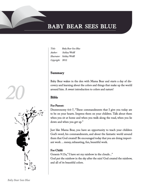 Sample of Unit Study from Five in a Row Based on Baby Bear Sees Blue