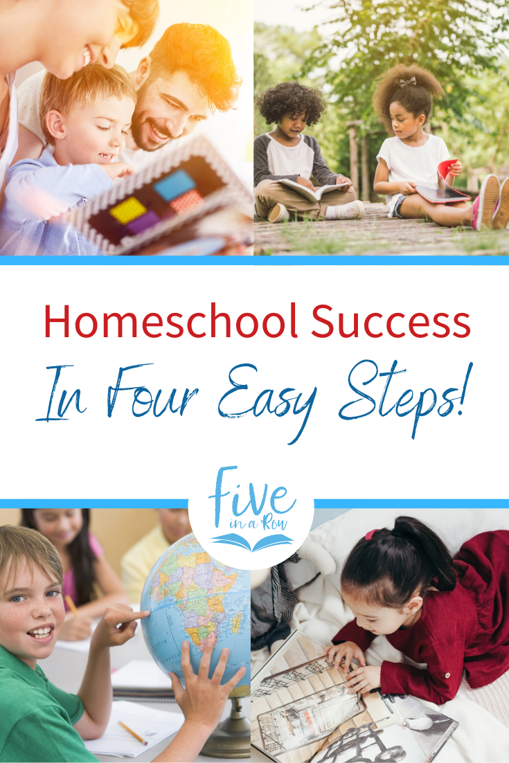 Homeschool Success: it could be easier than you think! When most people think of homeschooling they imagine complicated schedules, detailed lesson plans, piles of worksheets, and hours of attempting to make wiggly kids sit still (but with no avail). What if—instead of that—you could find homeschool success in four easy steps? Steps that have helped hundreds of thousands of moms succeed as teachers and have helped millions of kids find joy in learning?!
