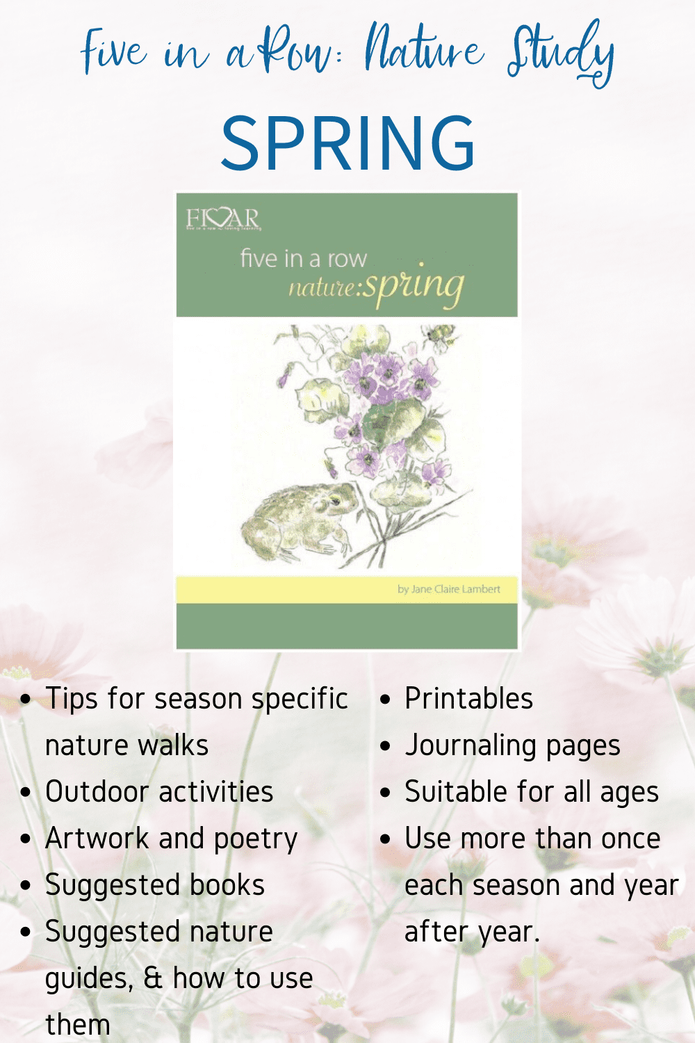 Knowing that planning your own nature study can be a time-consuming task, Jane has written a nature study for each season to encourage your entire family in your exploration of all four seasons! Check out Nature Study Spring!